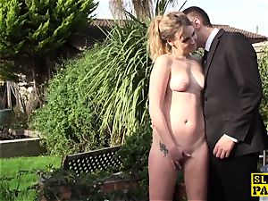 draining bitch raunchy fingerfucked outdoors